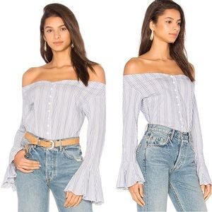 Free People March to the Beat Striped Top Sz Small